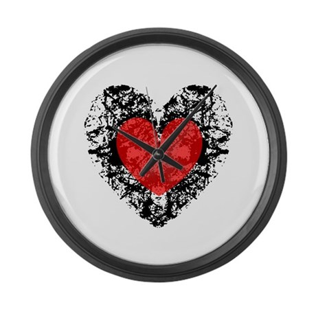 Pretty Grunge Heart Large Wall Clock