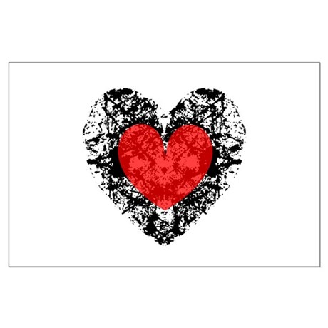 Pretty Grunge Heart Large Poster