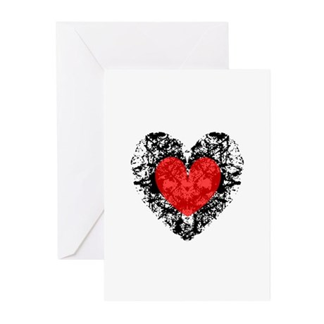 Pretty Grunge Heart Greeting Cards (Pk of 10)