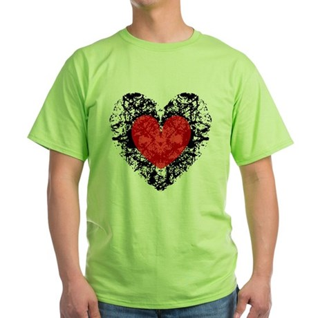 Pretty Grunge Heart Green T-Shirt