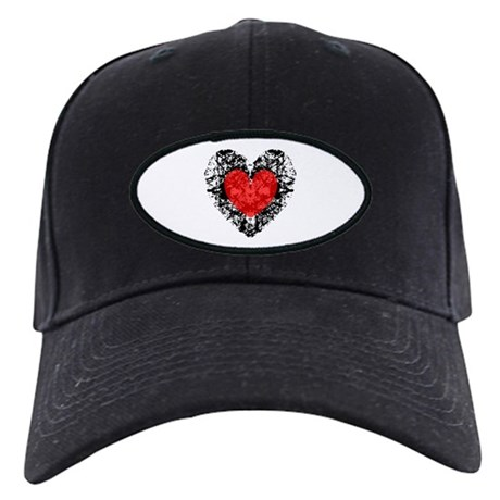 Pretty Grunge Heart Black Cap