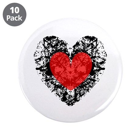 "Pretty Grunge Heart 3.5"" Button (10 pack)"