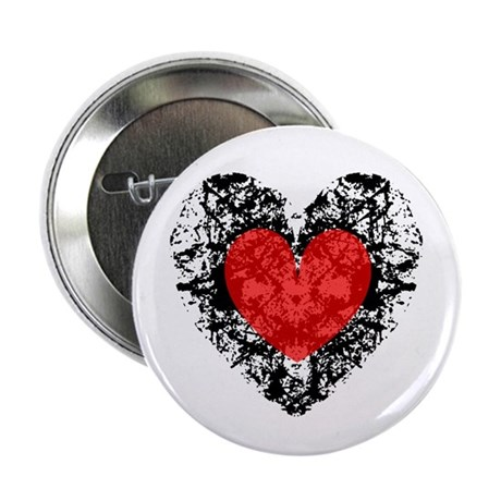 "Pretty Grunge Heart 2.25"" Button (10 pack)"