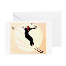 Vintage Ski Skiing Skier Greeting Cards (Pk of 20)