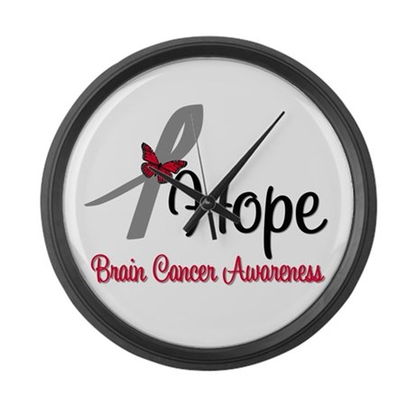 HopeButterfly Brain Cancer Large Wall Clock