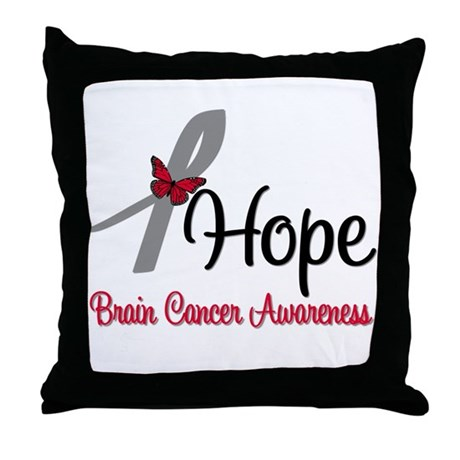 HopeButterfly Brain Cancer Throw Pillow