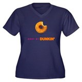 Body by Dunkin Women's Plus Size V-Neck Dark T-Shi