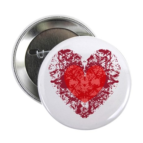 Red Grunge Heart 2.25&quot; Button