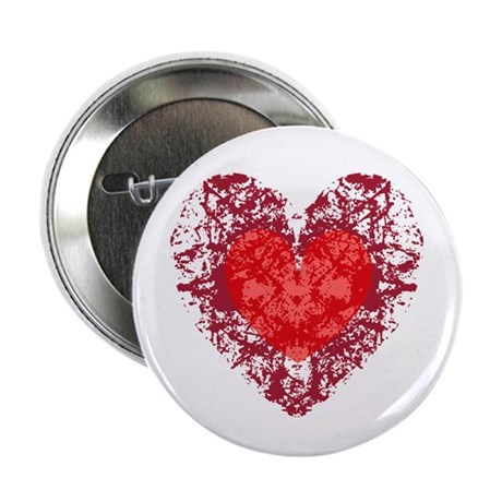 Red Grunge Heart 2.25&quot; Button (100 pack)