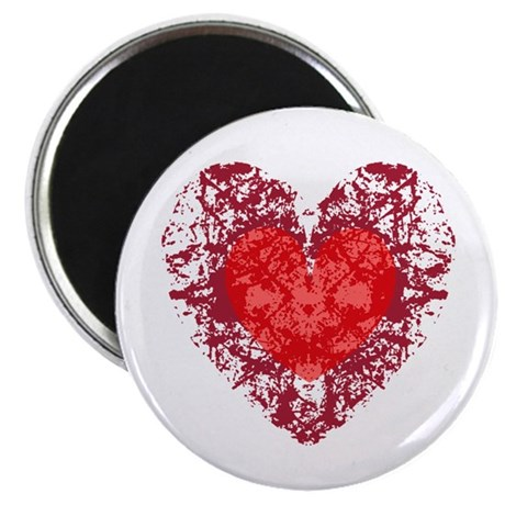 Red Grunge Heart 2.25&quot; Magnet (10 pack)