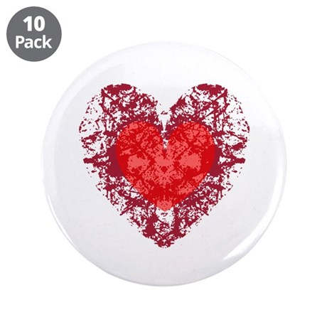 Red Grunge Heart 3.5&quot; Button (10 pack)