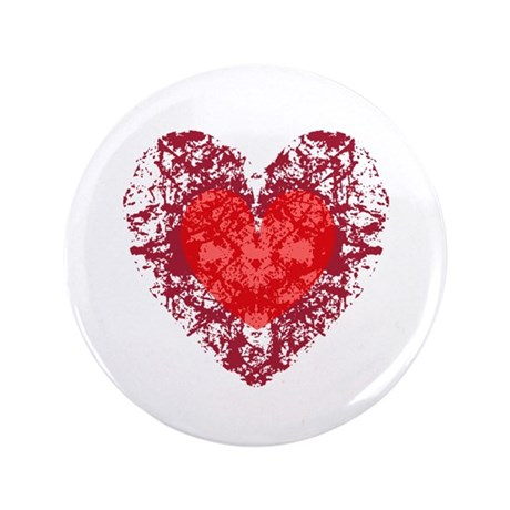 Red Grunge Heart 3.5&quot; Button (100 pack)