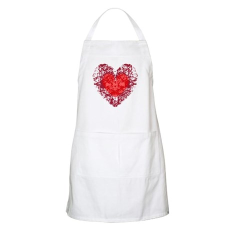 Red Grunge Heart BBQ Apron