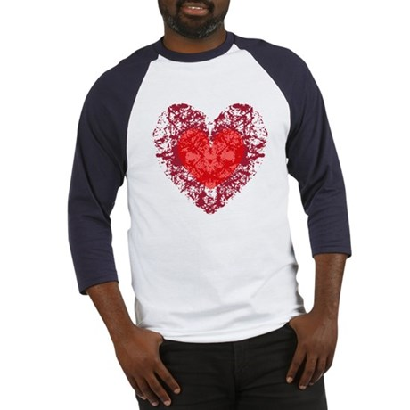 Red Grunge Heart Baseball Jersey