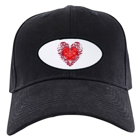 Red Grunge Heart Black Cap