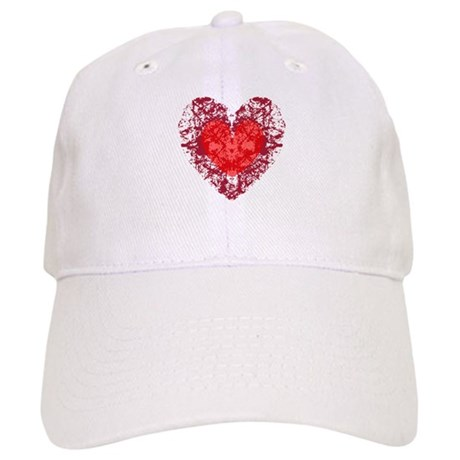 Red Grunge Heart Cap