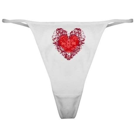 Red Grunge Heart Classic Thong