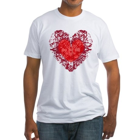 Red Grunge Heart Fitted T-Shirt