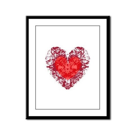 Red Grunge Heart Framed Panel Print