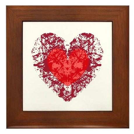 Red Grunge Heart Framed Tile