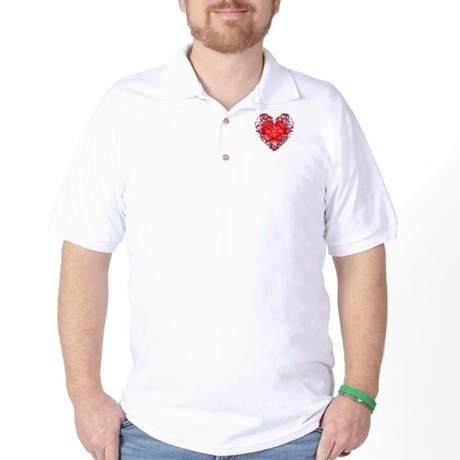 Red Grunge Heart Golf Shirt