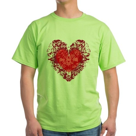 Red Grunge Heart Green T-Shirt