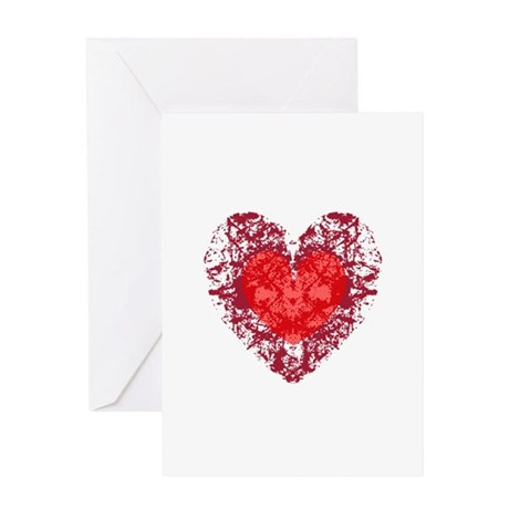 Red Grunge Heart Greeting Card