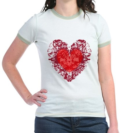 Red Grunge Heart Jr. Ringer T-Shirt