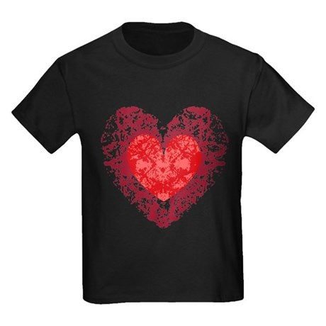 Red Grunge Heart Kids Dark T-Shirt