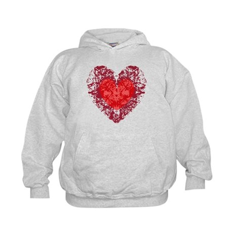 Red Grunge Heart Kids Hoodie