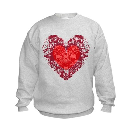 Red Grunge Heart Kids Sweatshirt