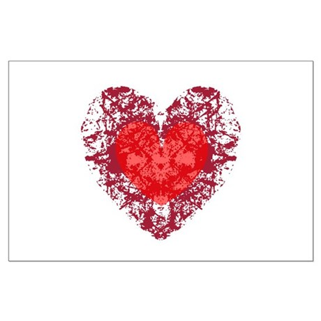 Red Grunge Heart Large Poster