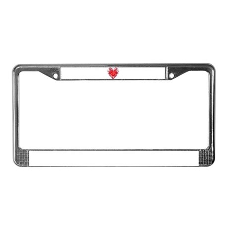 Red Grunge Heart License Plate Frame