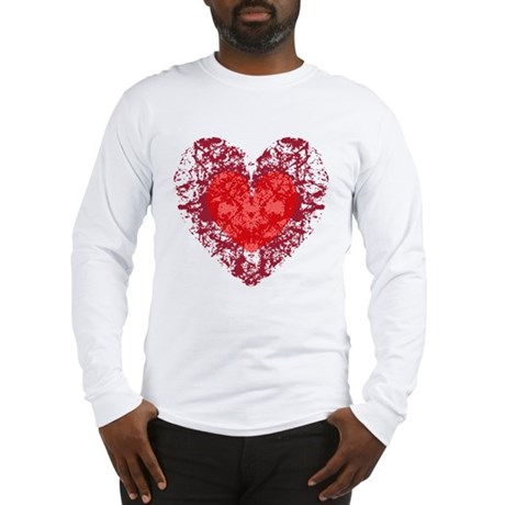 Red Grunge Heart Long Sleeve T-Shirt