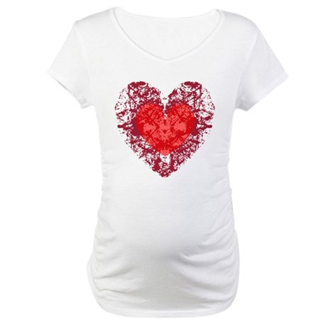 Red Grunge Heart Maternity T-Shirt