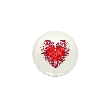 Red Grunge Heart Mini Button (100 pack)