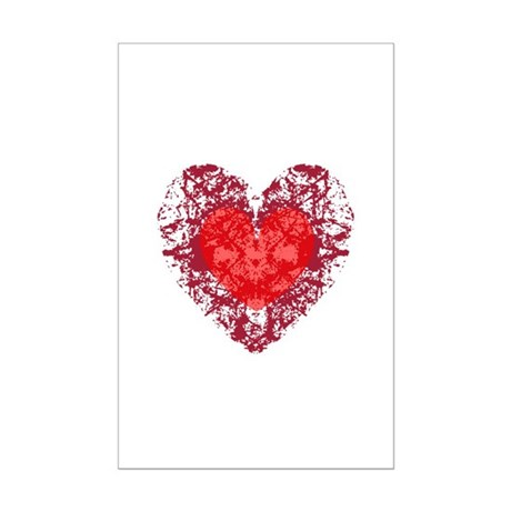 Red Grunge Heart Mini Poster Print