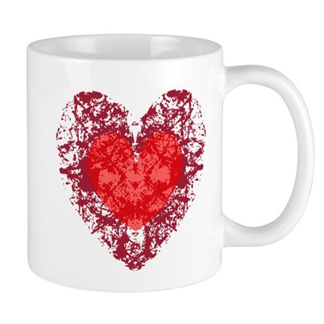 Red Grunge Heart Mug