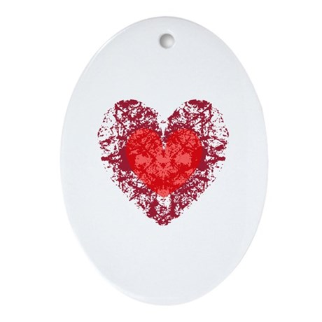 Red Grunge Heart Oval Ornament