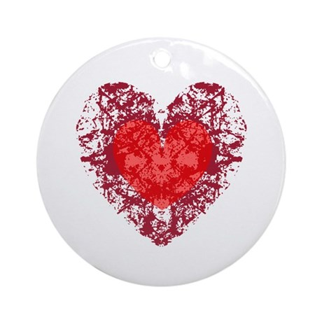 Red Grunge Heart Ornament (Round)