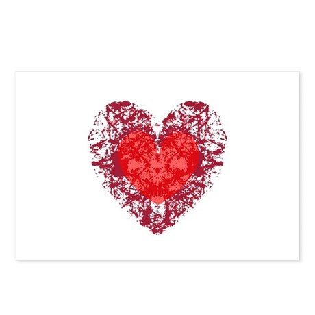 Red Grunge Heart Postcards (Package of 8)