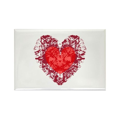 Red Grunge Heart Rectangle Magnet (10 pack)