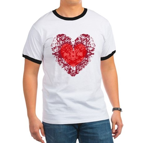 Red Grunge Heart Ringer T