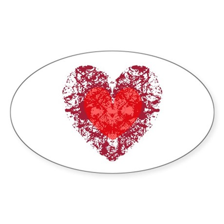 Red Grunge Heart Oval Sticker