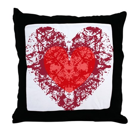 Red Grunge Heart Throw Pillow
