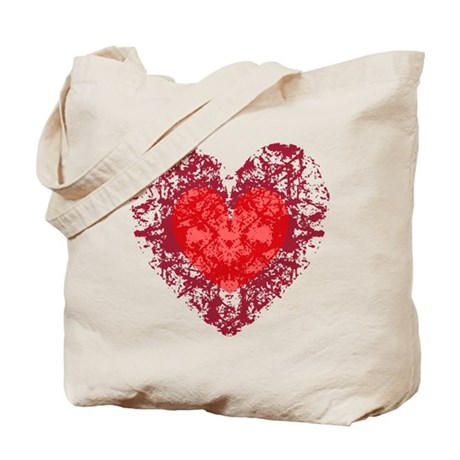 Red Grunge Heart Tote Bag