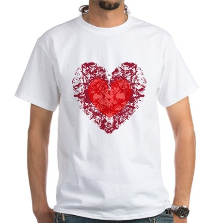 Red Grunge Heart White T-Shirt