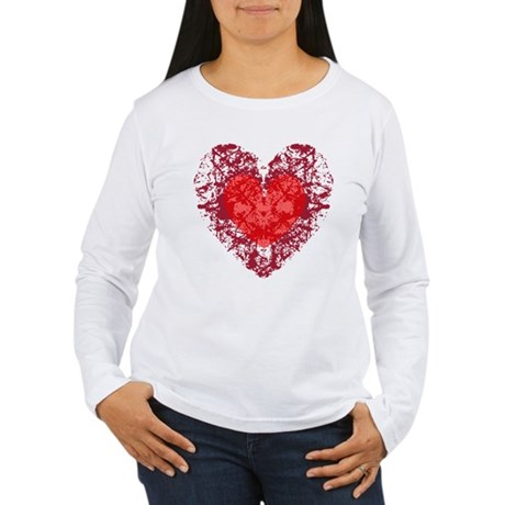 Red Grunge Heart Women's Long Sleeve T-Shirt
