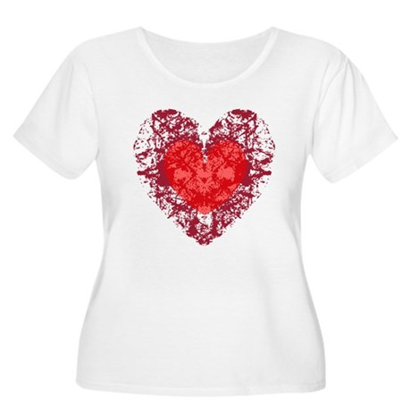 Red Grunge Heart Women's Plus Size Scoop Neck T-Sh