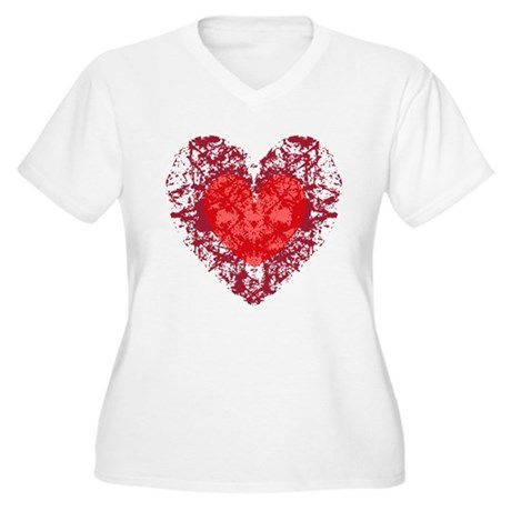 Red Grunge Heart Women's Plus Size V-Neck T-Shirt